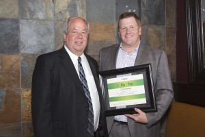 Orem Mayor Burnst receives 1 Gigabyte City award from Jeremy Ferkin, Utah VP for CenturyLink
