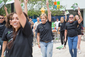 CenturyLink's Utah employees celebrate the launch of Prism TV in their own way at the City Creek Plaza in Salt Lake on June 4